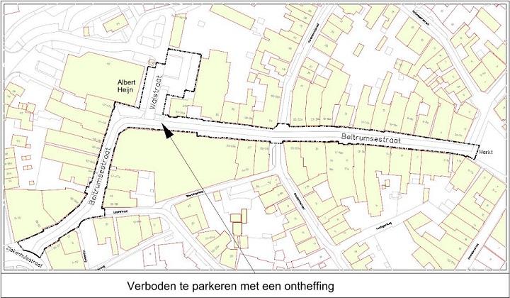 tekening gebied waar verboden is te parkeren met een ontheffing